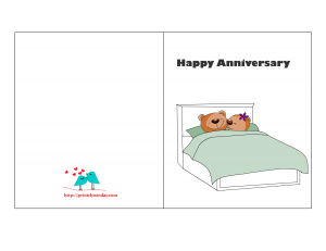 Free Printable Anniversary card with cute Teddy Bear couple
