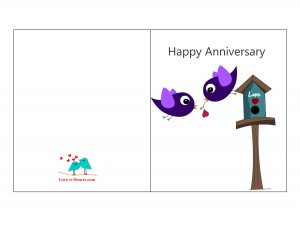 Free printable Anniversary Card with cute Love Birds