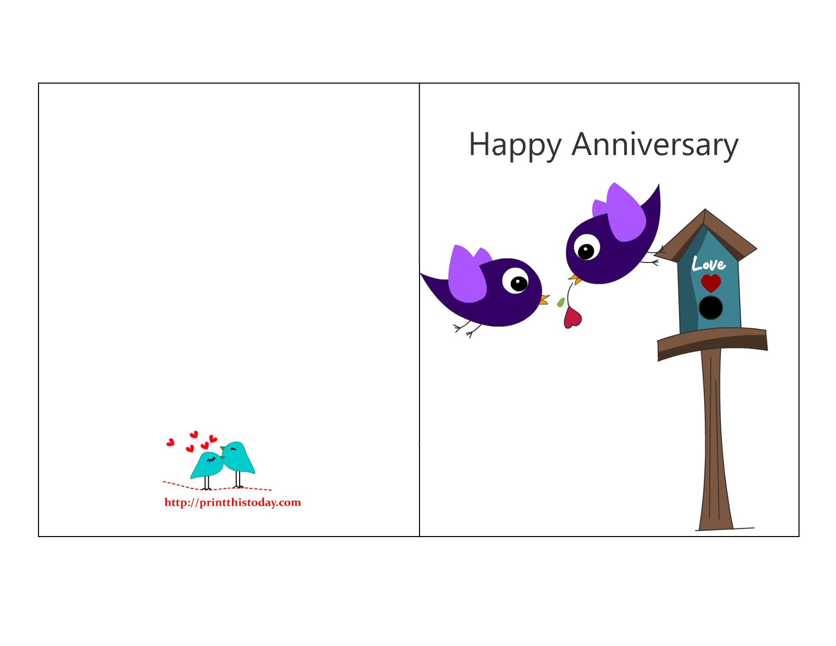 Free printable anniversary card featuring love birds