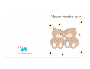 Free printable anniversary card with teddy bears