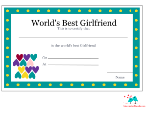Love certificate printable for girlfriend with hearts