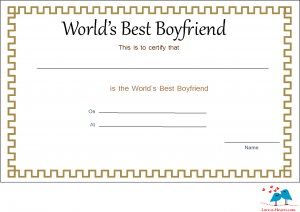 free printable world's Best boyfriend Certificate