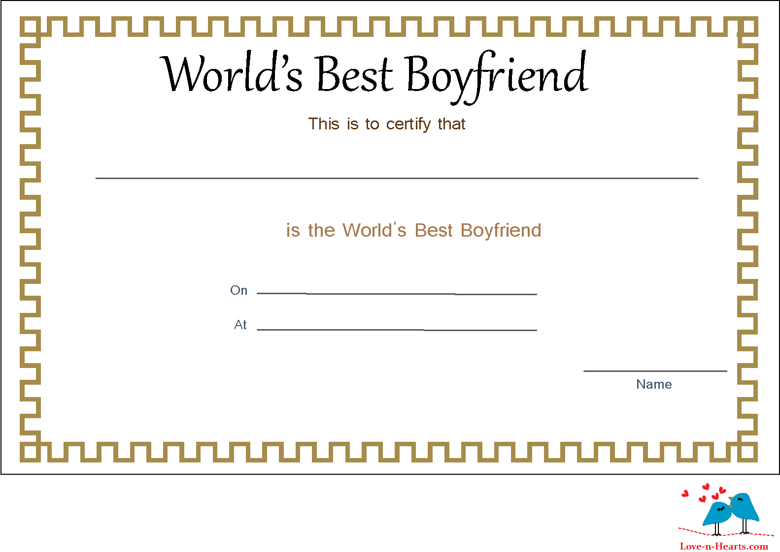 Coloring pages for boyfriend - Free Printable World S Best Boyfriend Certificate