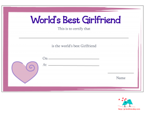 Free printable world's best girlfriend certificate
