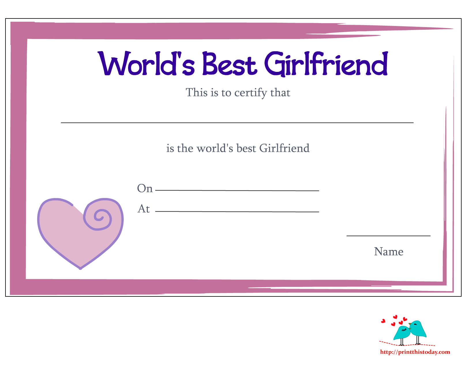 Free Printable Worlds Best Girlfriend Certificates
