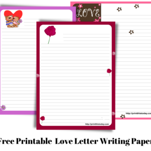 Free Printable Love letter writing paper