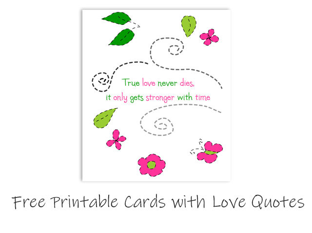Free Printable Cards with Love Quotes for Valentine Day