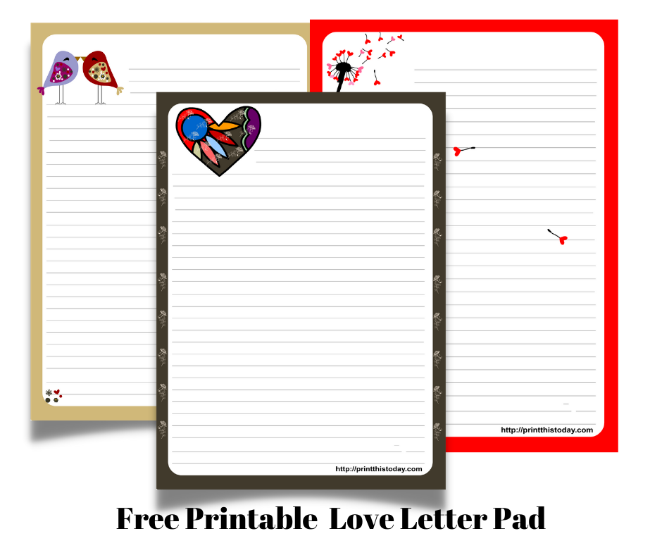 Free Printable Love Letter Pad Stationery