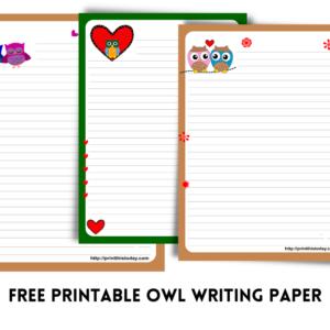 Free Printable Owl writing Paper