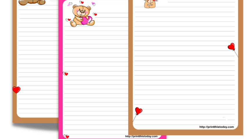 Free Printable Teddy Bear writing paper