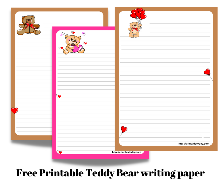 Free Printable Teddy Bear writing paper