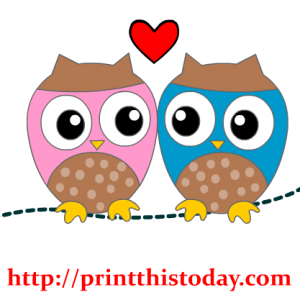 Two Owls and a Heart Clip Art
