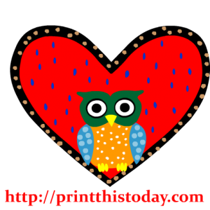 Owl in a Heart Clip Art