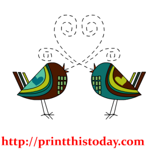 Elegant Love Birds Clip Art