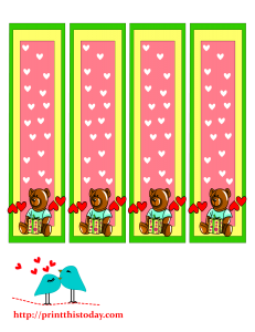 Teddy bear and a gift pack bookmarks