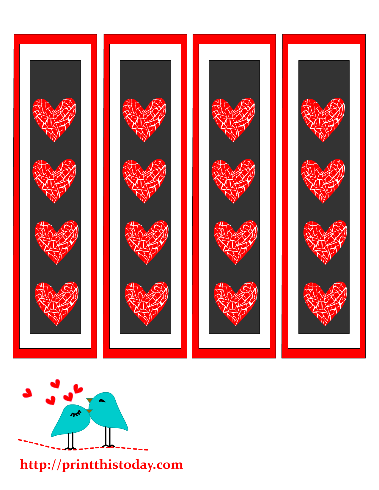 Free Printable Bookmarks with Hearts