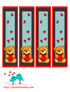 Bookmarks with cute teddy bear and hearts
