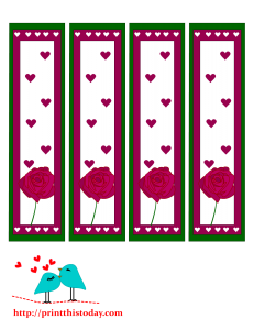 Valentine day bookmarks featuring rose and hearts