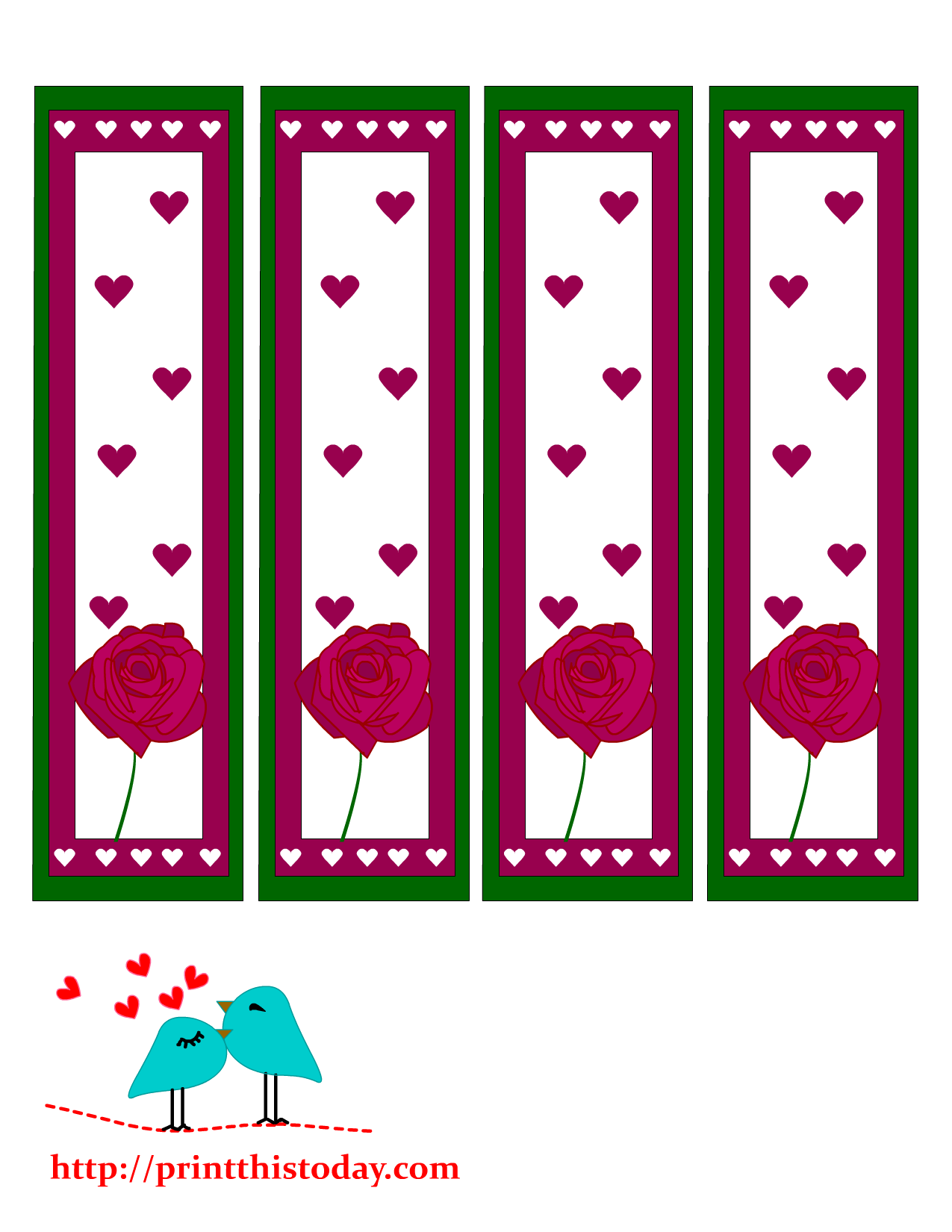 valentine bookmarks to color : Valentine Day Bookmarks Featuring Rose And Hearts