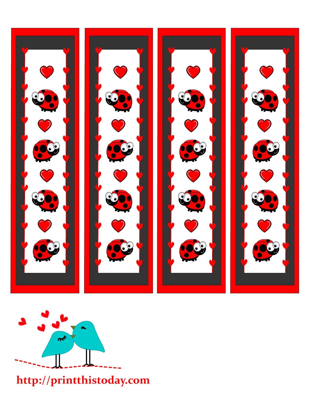 valentine bookmarks to color : Valentine Day Bookmarks With Lady Bug And Hearts