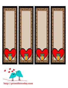 Owl and heart bookmarks to print