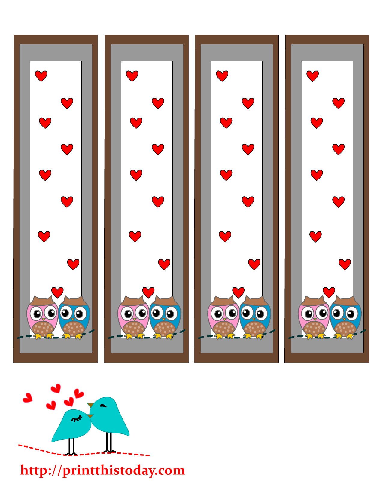 valentine bookmarks to color : Free Printable Bookmarks Featuring Cute Owls