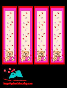 Cute teddy bear bookmarks to print