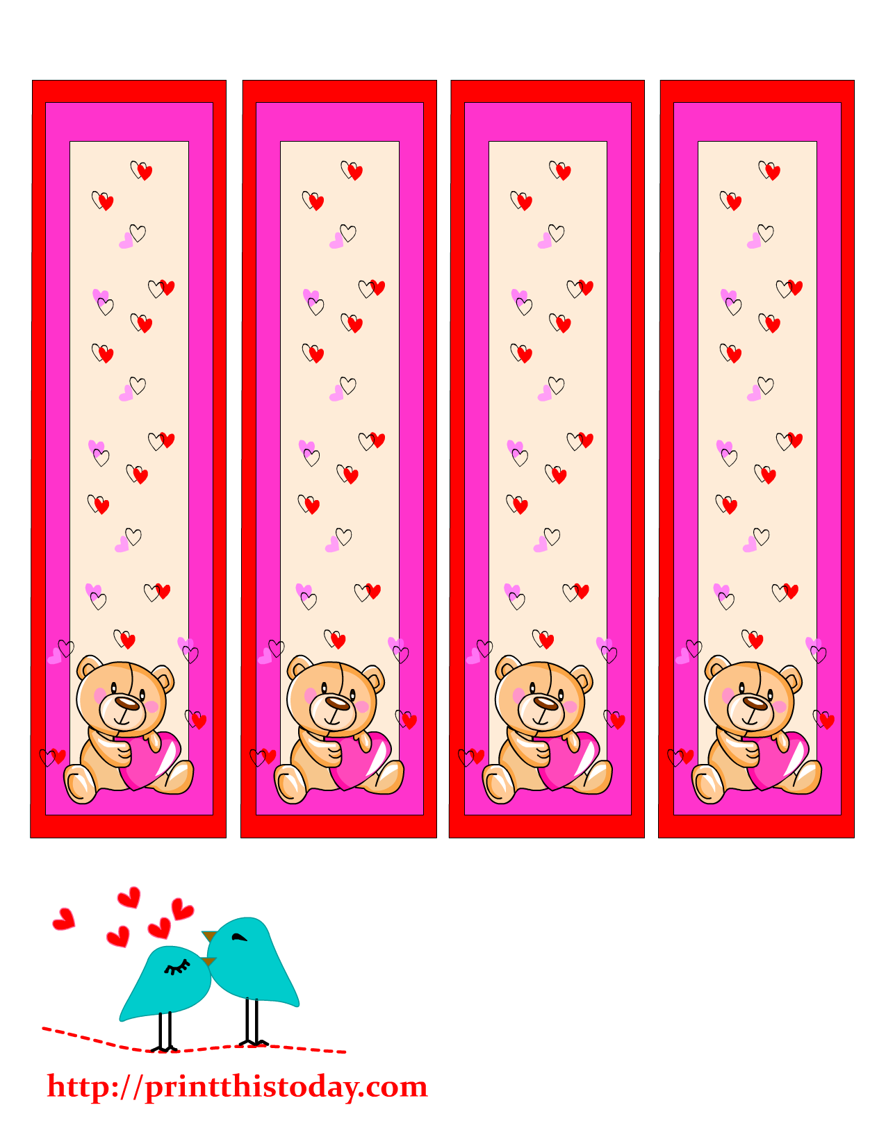 Valentine bookmark to color - Cute Teddy Bear Bookmarks To Print