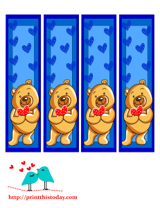 Teddy bear bookmarks to print