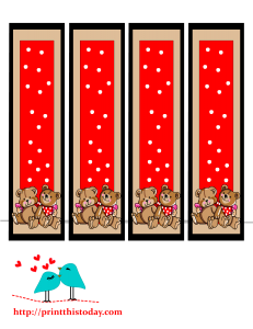 Bookmarks with two cute teddy bears