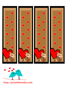Bookmarks featuring teddy bear and hearts