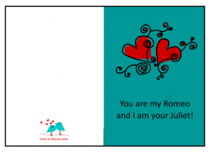 You are my Romeo, Romantic Printable card for Him
