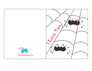 I love you card with cute Spiders