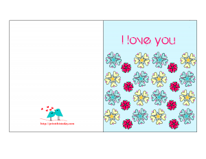 I love you card for him with Flowers