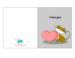 I love you card for him with cute image