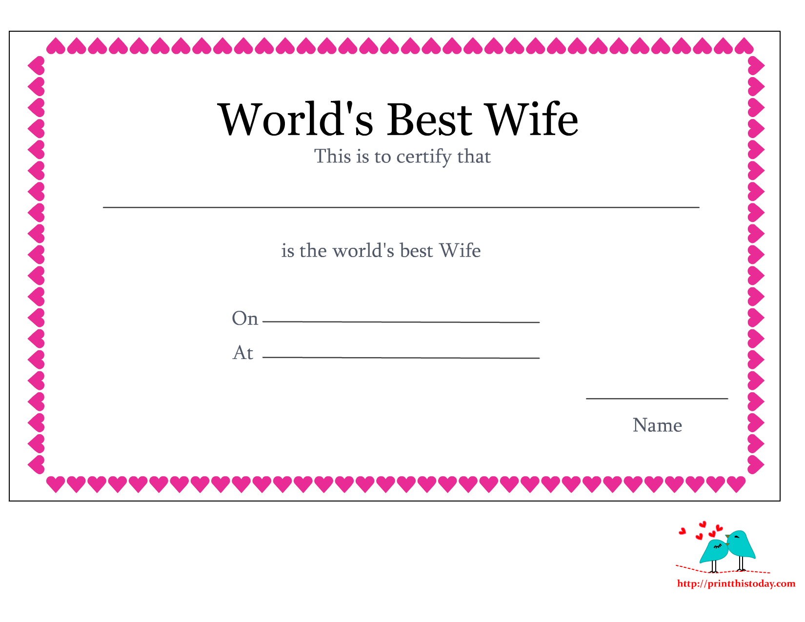 Free Printable World's Best Wife Certificates