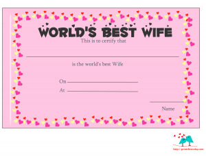 World's best wife certificate with hearts