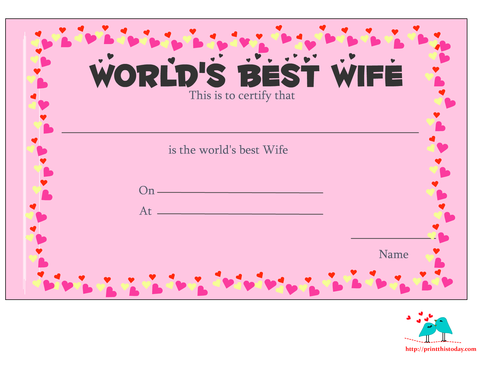 Worldu0027s Best Wife Certificate With Hearts  Anniversary Certificate Template