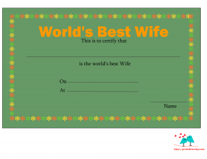 Elegant love certificate for wife