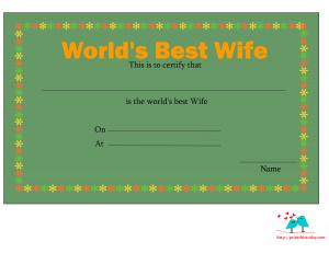 Elegant love certificate for wife