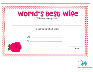 World's best wife certificate with red rose