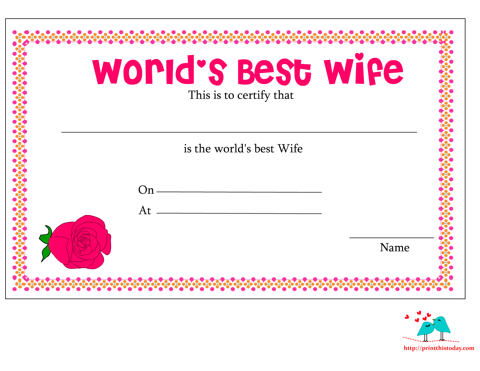 Worldu0027s Best Wife Certificate With Red Rose  Free Printable Anniversary Cards For Her