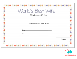 World's best wife certificate printable with floral border