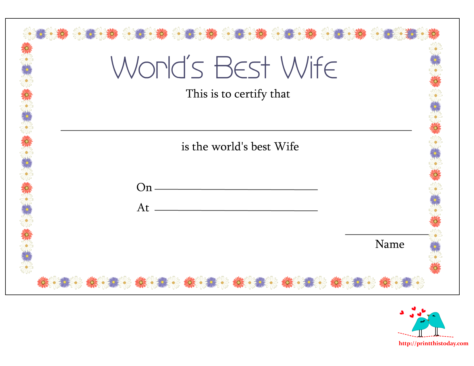 Free printable worlds best wife certificates worlds best wife certificate printable with floral border alramifo Choice Image