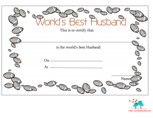 Love certificate for husband