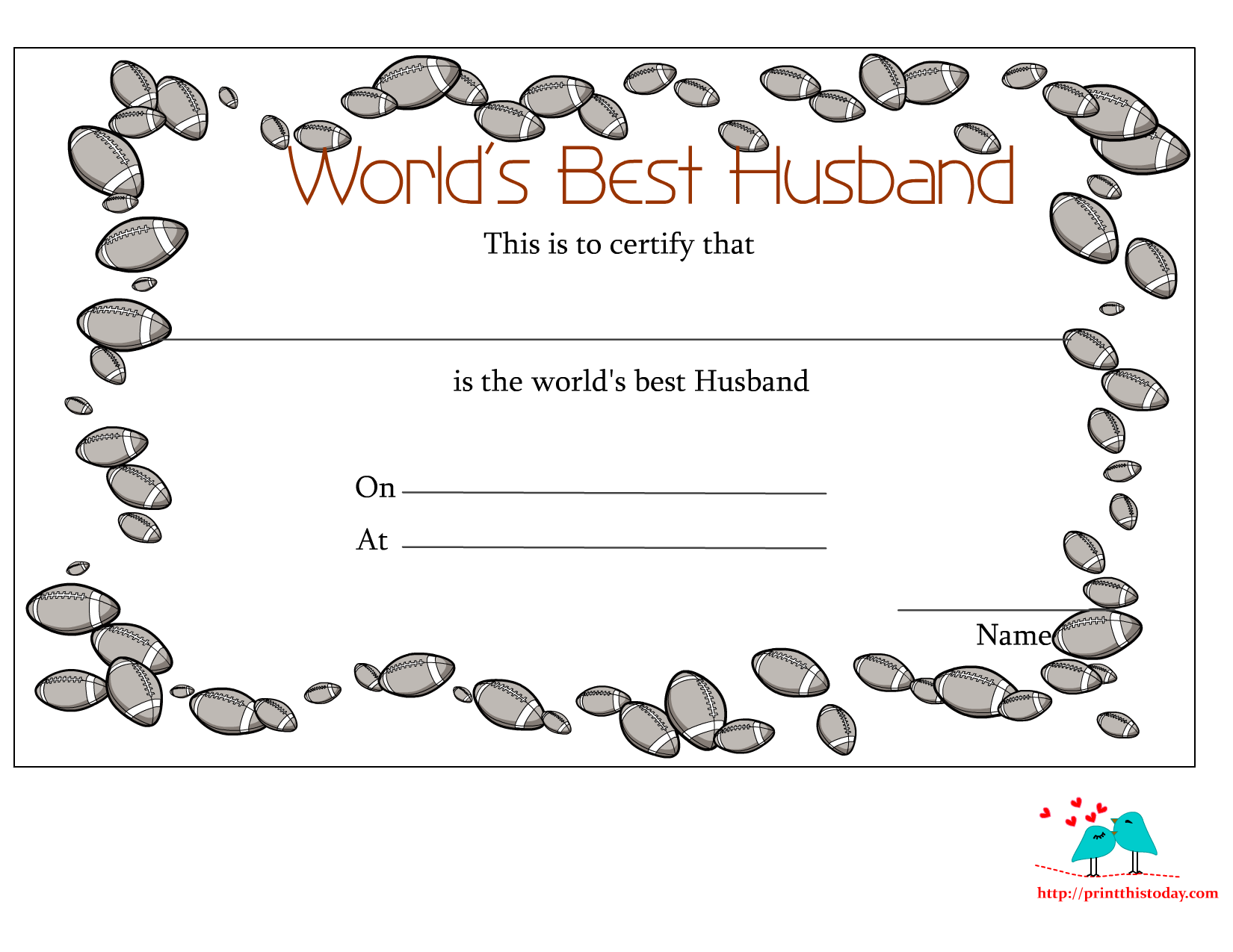 Free Printable World\'s Best Husband Certificates