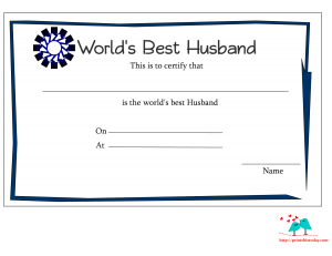 World's best husband certificate with blue border