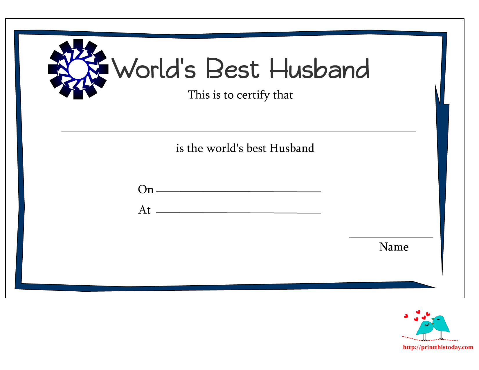 Free printable worlds best husband certificates worlds best husband certificate with blue border alramifo Image collections