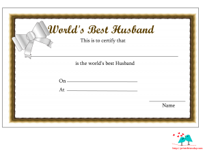 World's Best Husband Certificate with brown border and bow