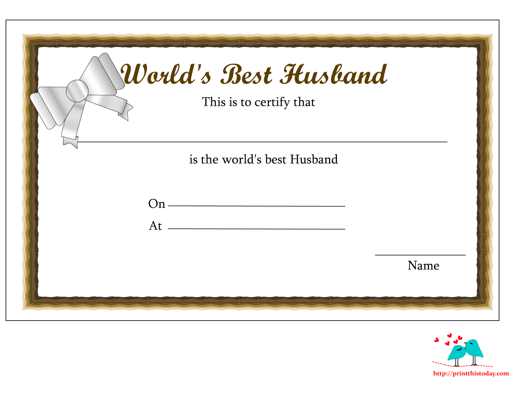 Free Printable Worlds Best Husband Certificates
